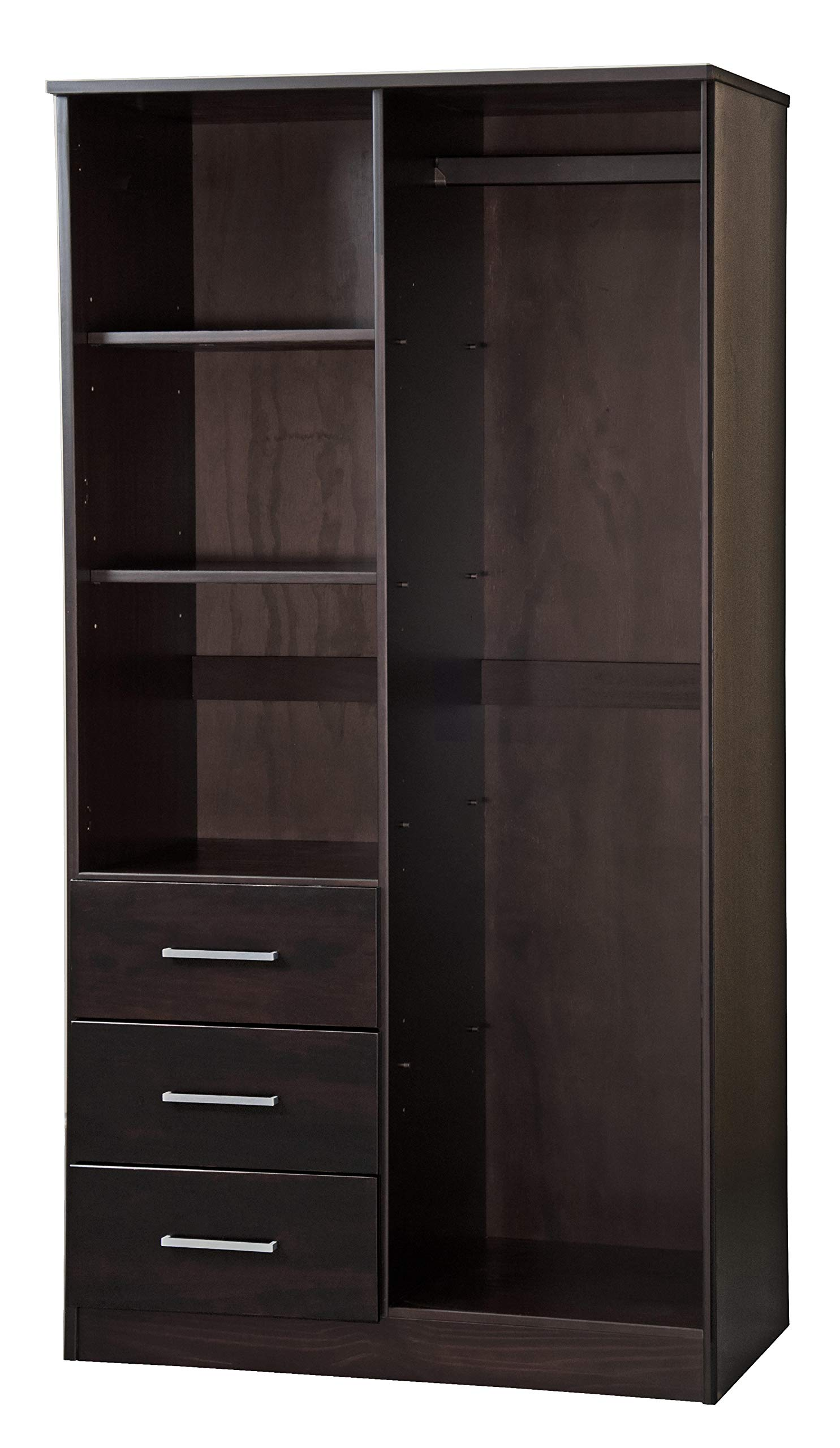 Metro 100% Solid Wood Wardrobe with Mirror by Palace Imports, Gray