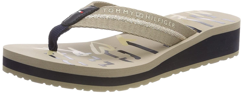 ebee66f4eb5e Tommy Hilfiger Damen Tommy Loves NY Beach Sandal Zehentrenner, Beige  (Cobblestone 068),