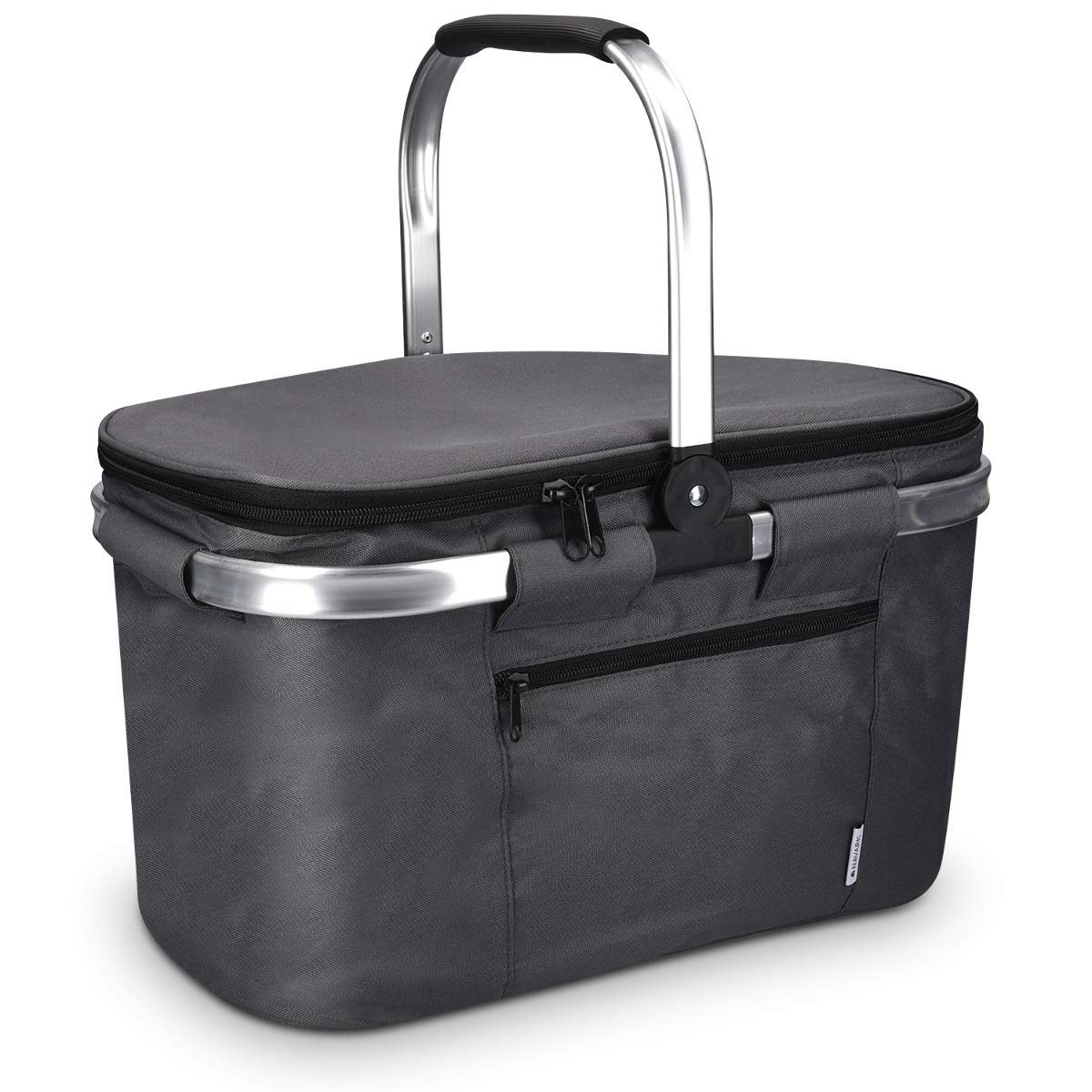 Travel Navaris Insulated Picnic Basket Bag Cool Storage for Food Drinks 27L Collapsible Cooler with Folding Handle Shopping Camping Gray