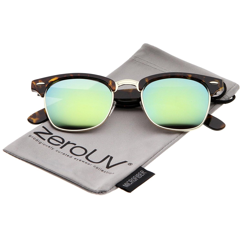 d756323498 Amazon.com  zeroUV - Half Frame Semi Rimless Sunglasses for Men Women with  Colored Mirror Lens 50mm (3-Pack