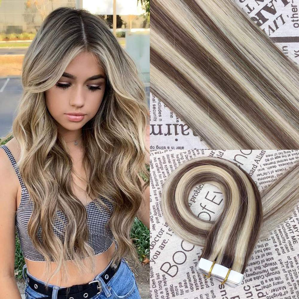 HIKYUU 22'' 50g/20pcs Brown Highlighted Tape in Hair Extensions Remy Invisible Skin Weft Tape in Hair Extensions Seamless Real Human Hair by HIKYUU