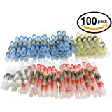 100pcs Wire Connectors, Sopoby Solder Seal Heat Shrink Butt Connectors, Electrical Waterproof Marine Automotive Terminal Kit(35Red 30Blue 25White 10Yellow)