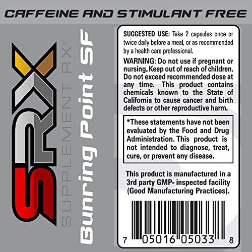 Supplement Rx SRX – Burning Point SF Fat Burner, Caffeine Stimulant Free, Non Stimulant, Lipotropic, Thermogenic, Weight Loss Supplement, Appetite Suppressant, Fat Blocker, 120 Capsules