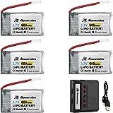 Powerextra 5Pcs 3.7V 600mAh LiPO Batería y Cargador de Batería X5 para Syma X5 X5C X5SW X5SC-1 CX-3W CX-31 M68 M68R UDI U45