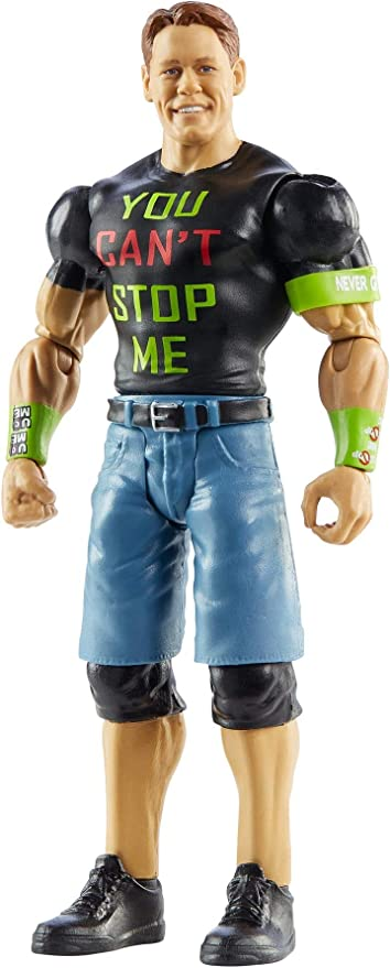 WWE MATTEL John Cena Basic Series #113 Action Figure in 6-inch Scale with Articulation & Ring Gear, Multi (GLB17)