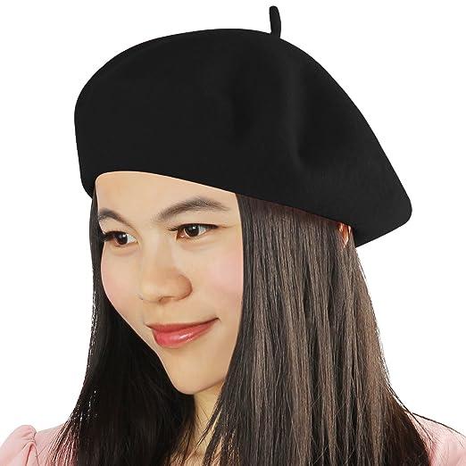 9bb4b06fb67 Acecharming Womens French Style Beret Wool Beanie Hat Cap