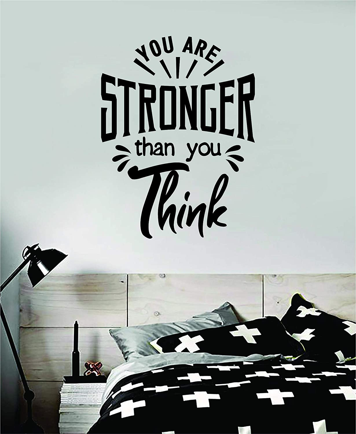 You are Stronger Than You Think Wall Decal Sticker Vinyl Art Bedroom Room Decor Quote Inspirational Boy Girl Kids Children Baby Cute Son Daughter School Motivational Nursery Work Gym Fitness Health