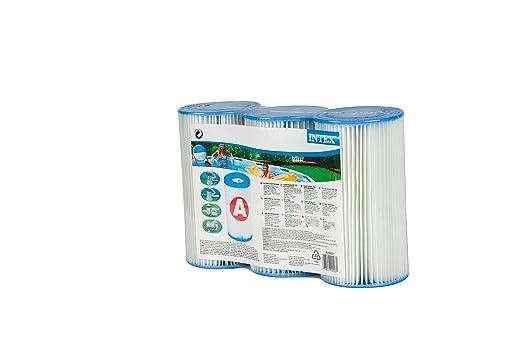 Intex 29003 - Pack 3 cartuchos tipo A, altura 20,2 cm, diámetro 10,8/5 cm: Amazon.es: Jardín