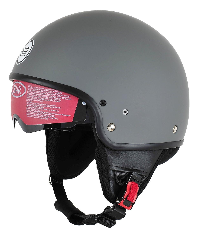 BHR Motorrad Helm 802 Demi-Typ mit Visier Versenkbare,blanco M 57 cm