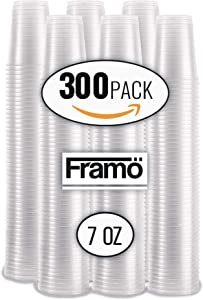 7Oz Clear Plastic Cups by Fnamo, For Any Occasion, BPA-Free Disposable Transparent Ice Tea, Juice, Soda, and Coffee Glasses for Party, Picnic, BBQ, Travel, and Events, (300, clear)