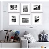 "Art Street Decorative Set of 6 Individual Wall Photo Frame (8"" X 10"" Picture Size matted to 6"" x 8"") - White"