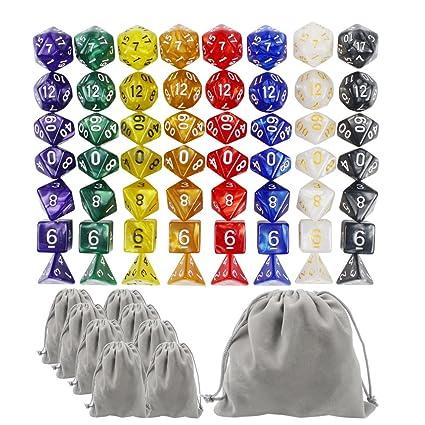 Whonline 8 x 7 (56 Piezas) Dados Poliédricos de Alta Calidad, 8 Colores, 8 Bolsas y 1 Bolsa de Franela de Gran Tamaño