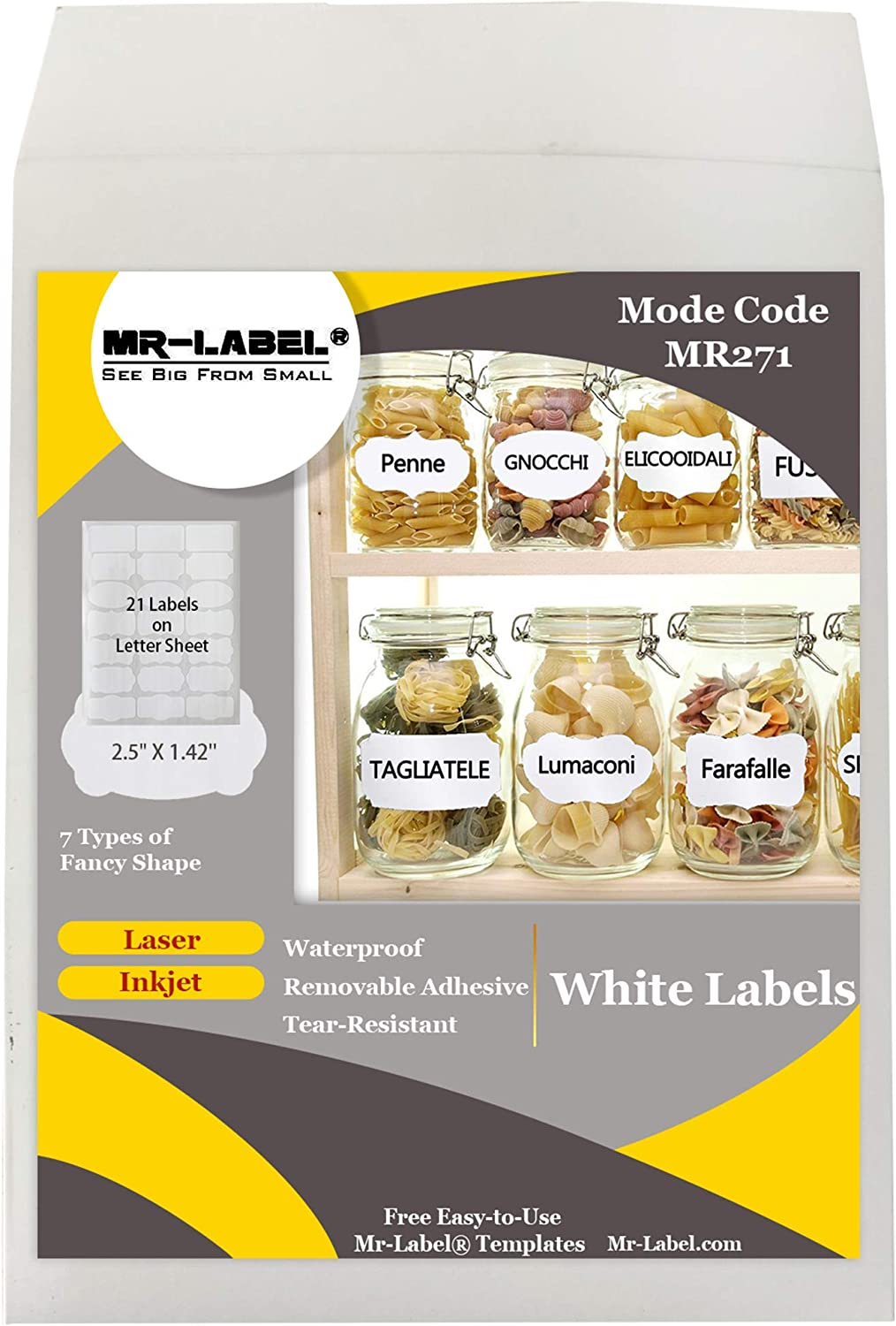 Mr-Label 7 Types of Fancy Shape White Waterproof Adhesive Labels on Letter Sheet - Tear-Resistant Bottle Stickers for Kitchen Use - Inkjet & Laser Printer Support (10 Sheets/Totally 210 Labels)
