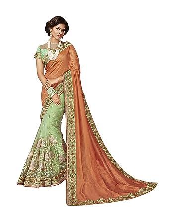 06cad8d4fba8 Amazon.com: Indian Sarees for Women Wedding Designer Party wear  Orange+Light Green Art Silk+Net Sari in Orange+Light Green Art Silk+Net:  Clothing