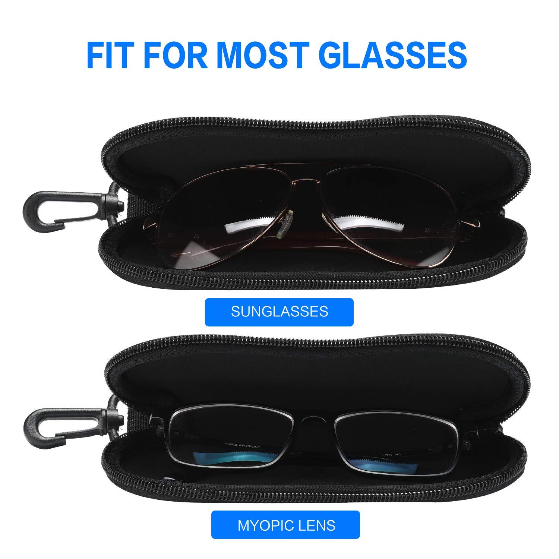 Sunglasses Soft Case Ultra Light Neoprene Zipper Eyeglass Case//Belt Clip 2PCS ZZ Sanity