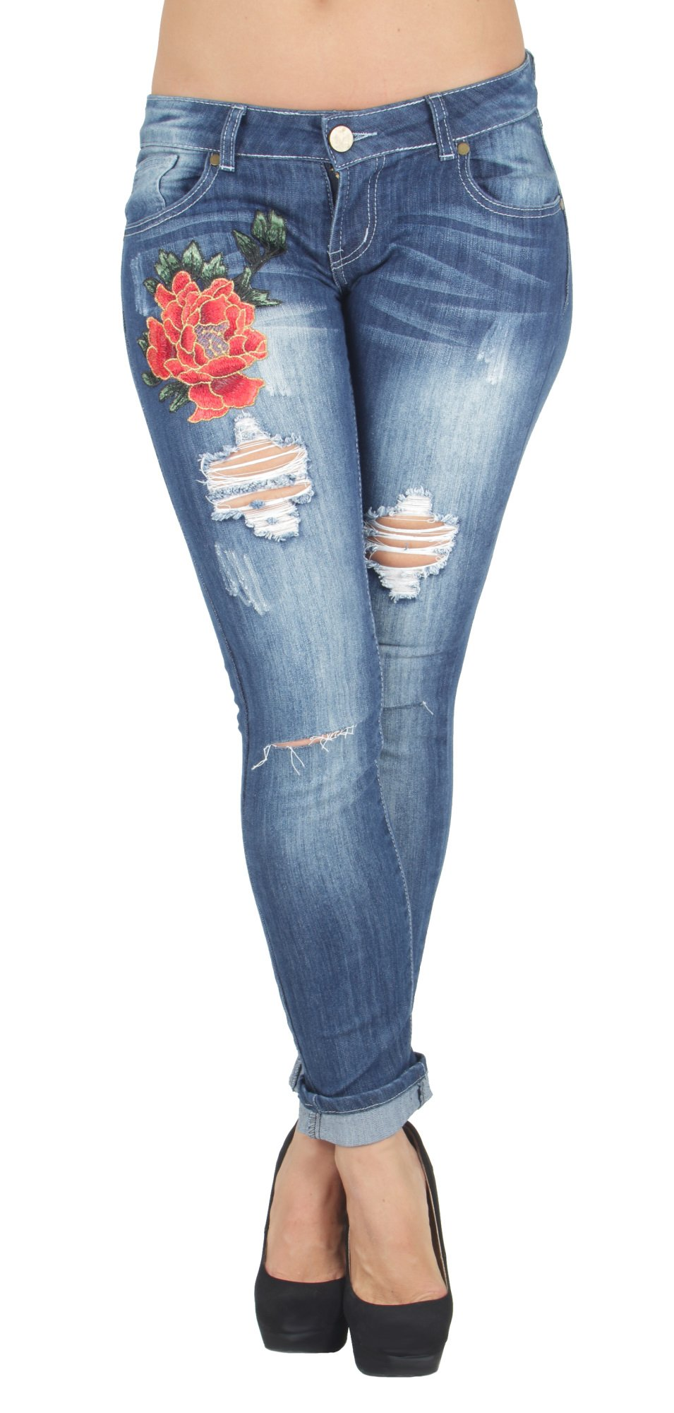 QP7-7Q037S - Premium Floral Patched Destroyed Ripped Roll-up Boyfriend Fit Jeans in Washed Blue Size M