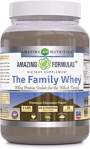 Amazing Formulas The Family Whey Whey Protein Isolate Powder for The Whole Family 2 lbs Most Complete Purest Form of Protein – Gluten Free – Premium Chocolate Flavor