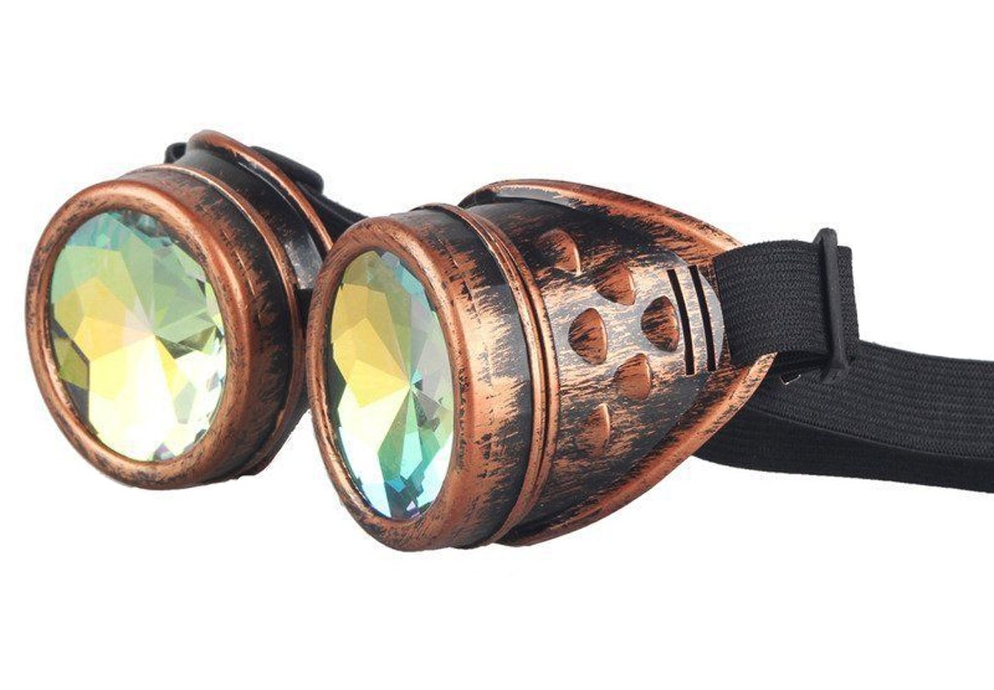 Kaleidoscope Steampunk Goggles Sunglasses With Elastic Band Retro Victorian Gothic Cosplay (Copper Frame)