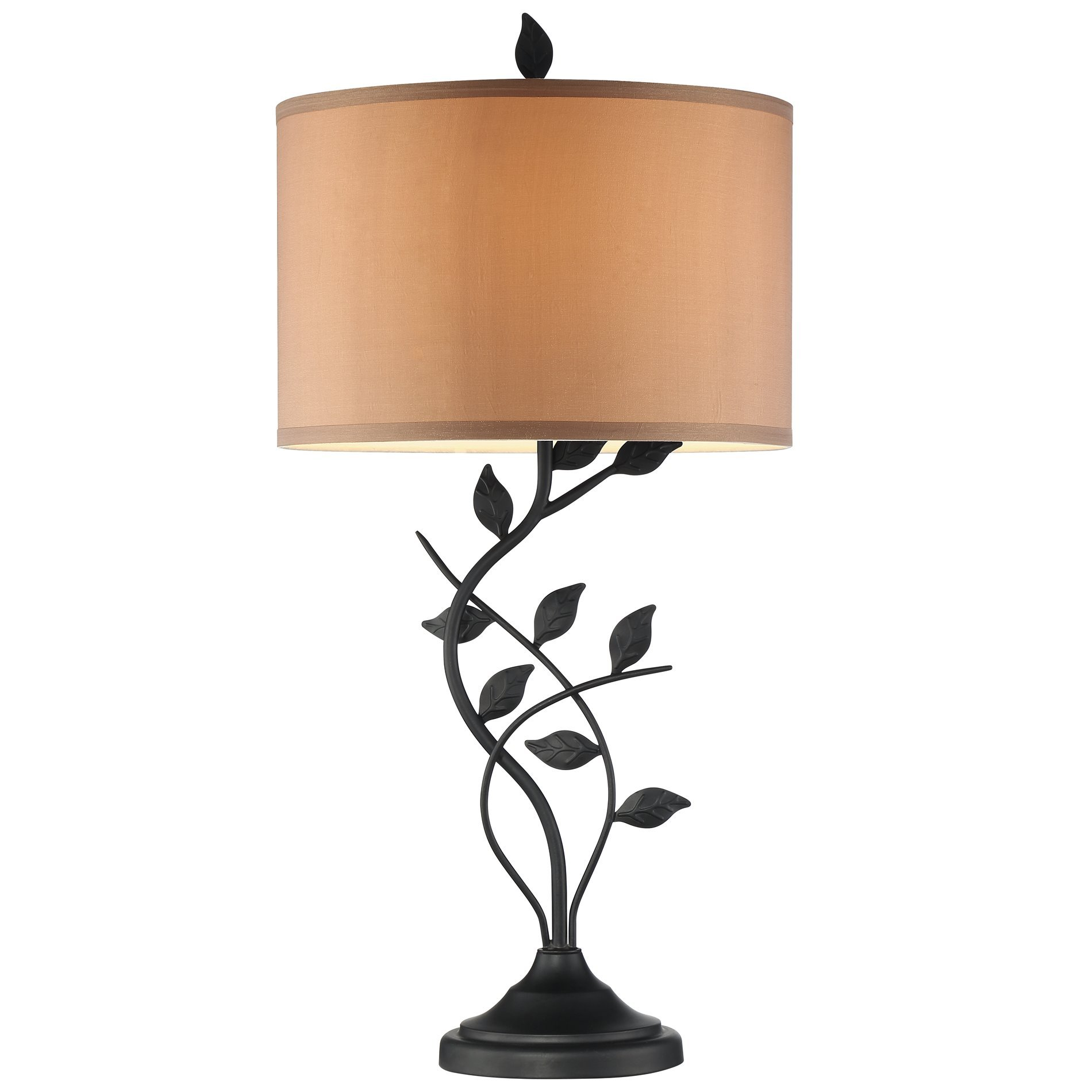 Revel Ambrose 30'' Matte Black Table Lamp + 6W LED Bulb, Energy Efficient, Eco-Friendly, Intricate Leafs Design, Gold Bronze Shade