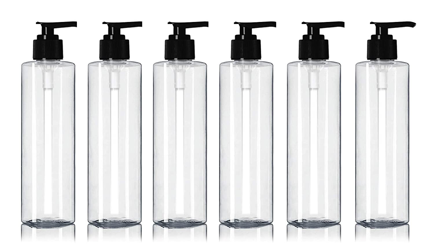 Newday Bottles, Empty Plastic Massage Lotion Bottles with Pump Dispenser BPA-Free 8 oz, Clear, Pack of 6