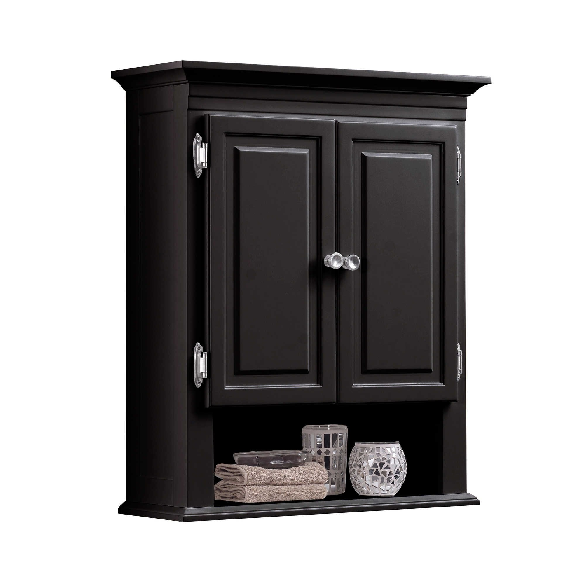 Wakefield 3-Shelf with 2-Doors Bathroom Wall Mount Cabinet in Espresso