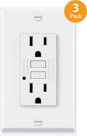 20A//125V//2500W Non-Tamper-Resistant White ETL Certified BESTTEN GFCI Receptacle Outlet Decor Wall Plate and Screws Included 3 Pack