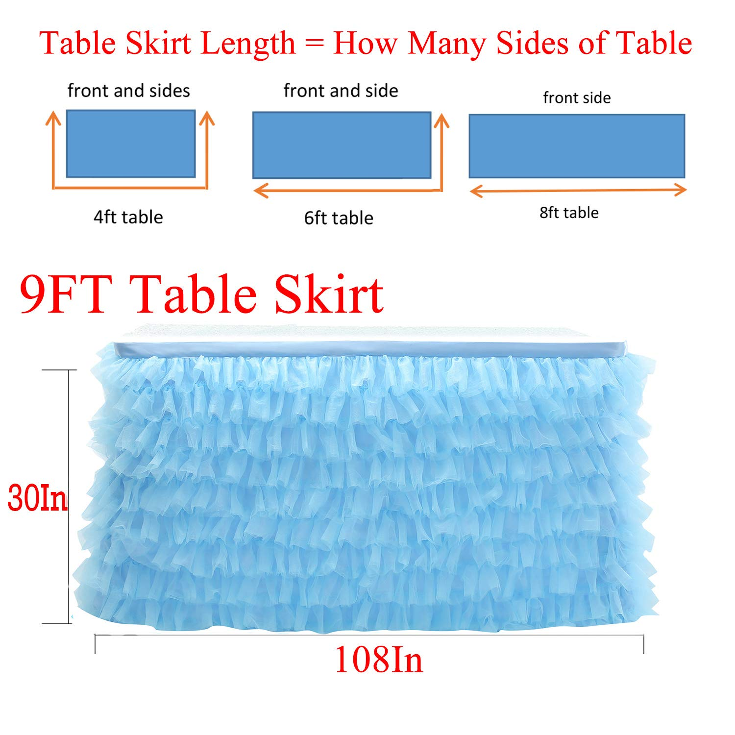 Black Tutu Tulle Table Skirt Layered Ruffle Table Cloth Party Decorations for Rectangular Round Table 6F