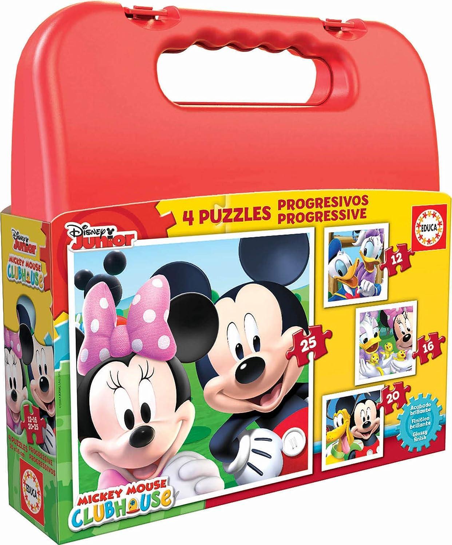 Educa Mickey Mouse Maleta Progresivos, puzzle infantil de 12,16,20 y 25 piezas, a partir de 3 años (16505)