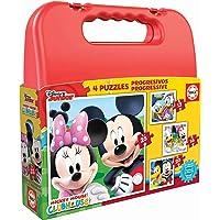 Educa Borrás- Maleta Progresivos puzzle infantil de 12, 16, 20 y 25 piezas, Mickey Mouse, a partir de 36 meses, Color rojo, única (16505)