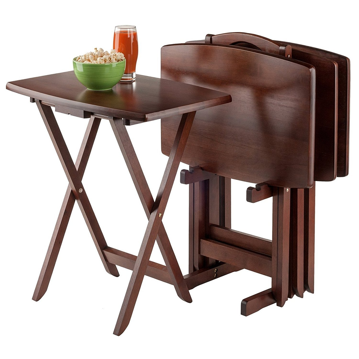 Schmidt Designs 5 Pieces Wooden Tray Table Set Walnut Color - Folding Solid Wood Stand for Food Drinks Meal Game Dinner Laptop Snack TV Dining Living Room Bedroom – Durable Sturdy Antique Design Décor