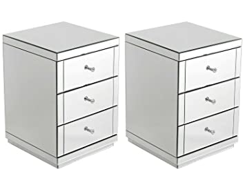 7e4b9cdb250b Pair of 3 Drawer Monroe Mirrored Furniture Bedside Table Cabinets ...