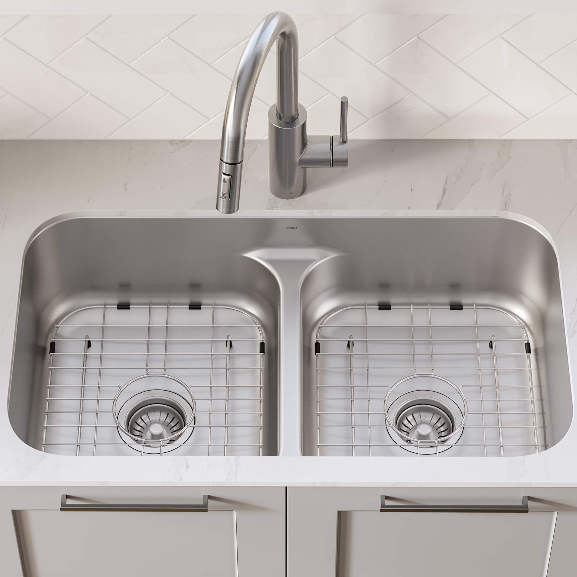 KRAUS KBU32 Premier 32-inch 16 Gauge Undermount 50/50 Double Bowl Kitchen Sink with Smart Low Divider by Kraus (Image #3)