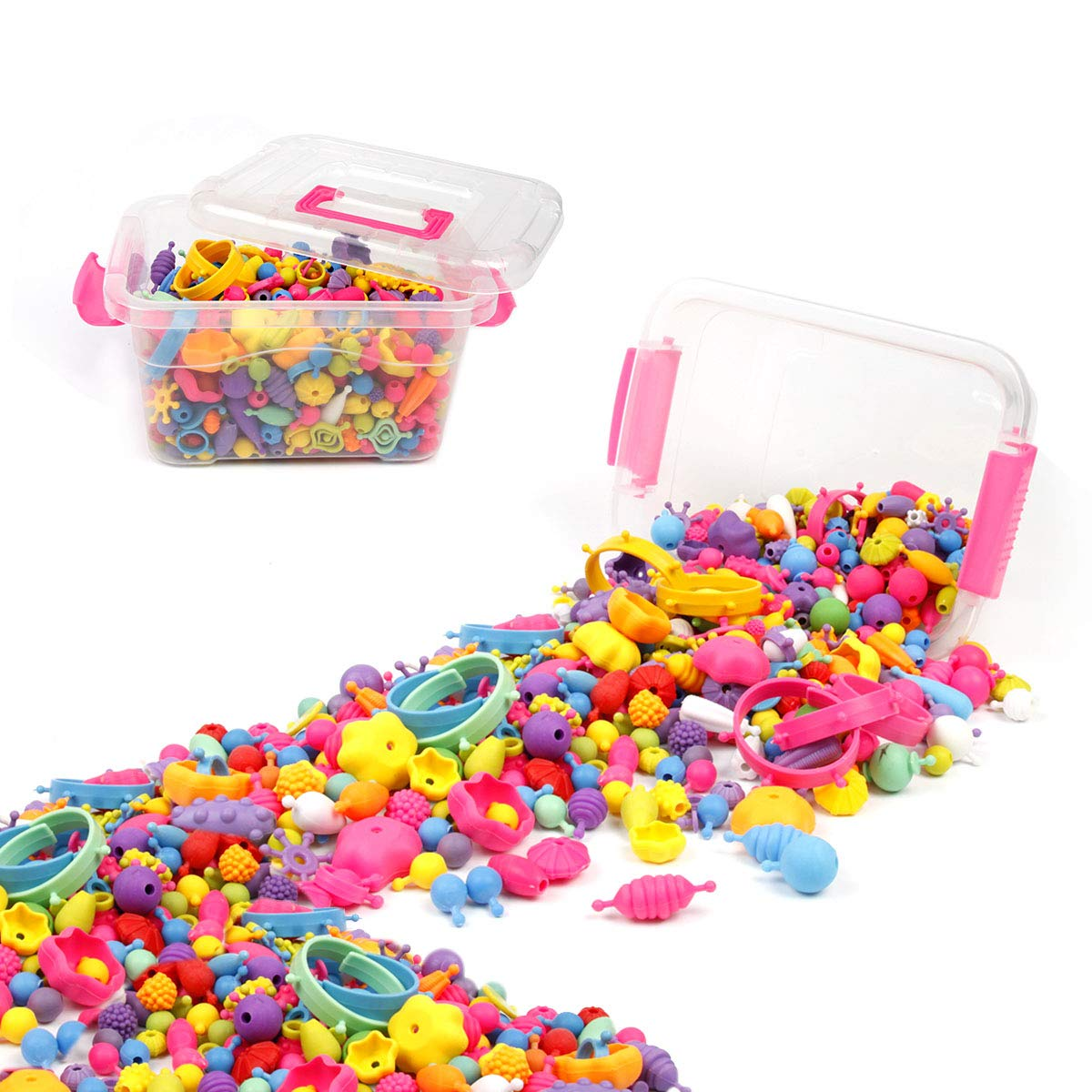 BUTEFO 485 PCS Pop Snap Beads Set Kids Toddlers Creative Jewelry Set Toys Making Necklace, Bracelet and Ring, Art Crafts Gifts for Girls