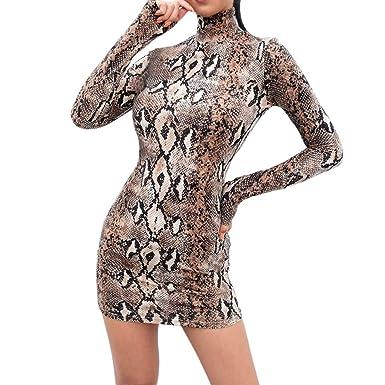 562cbc14580c4 OHQ Femme Robe De Soiree Col Haut Serré Serpent Impression Sexy Pull  Chambre Hiver Annee AnnéE Vintage Allaitement A Paillettes Carreaux Pois  Volants ...