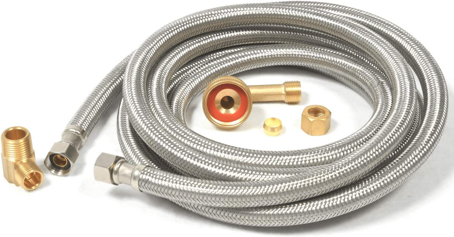 "Dishwasher Hose Stainless Steel Braided Supply Line Kit (10 foot) - 3/8"" comp x 3/8"" comp with attached 90 degree 3/8"" comp x 3/8"" MIP elbow - includes 90 degree 3/8"" comp x 3/4"" FGH"