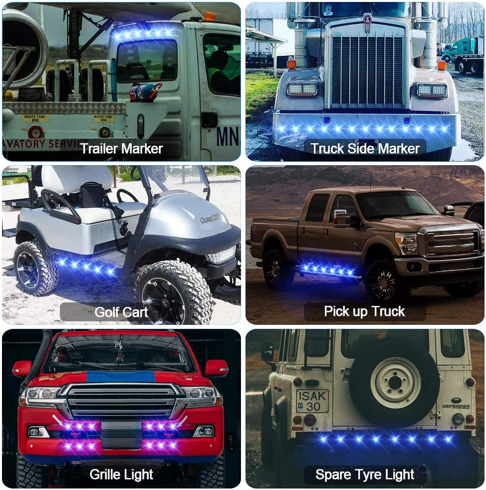 Pack of 10 Round LED Marker Lights,Ourbest 3//4 LED Clearence Front Rear Side Marker Indicators Light Tail Light Amber 12V-24V Waterproof for Car Truck Bus Boat