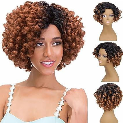 OHQ Peluca Mujeres Moda SeñOra Gradient Short Curls Hair Cosplay Party Peluca Postizos Sombreros Champú Y