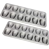 Madeleine Pans, 12-Well Nonstick Baking Pans, Set of 2, TAOUNOA Shell Shaped Mini Cake Pan, Made from Heavy Duty Steel