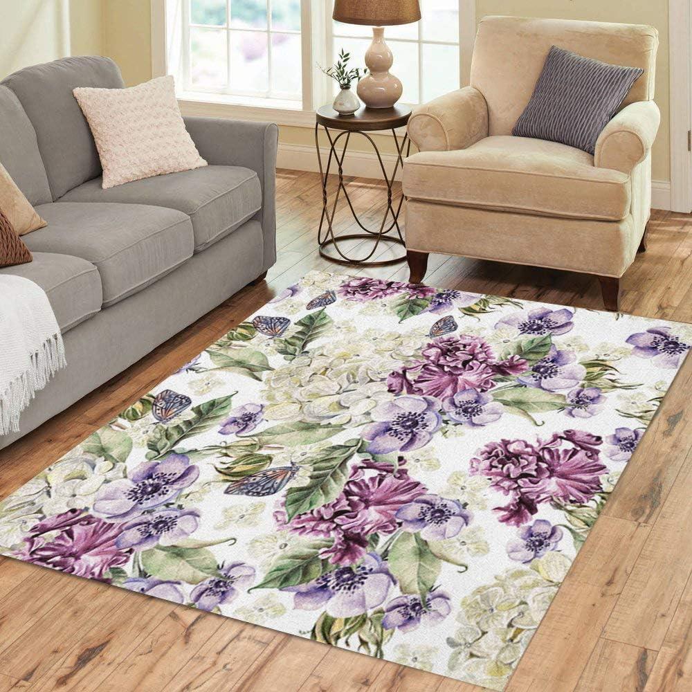 Amazon Com Pinbeam Area Rug Purple Bright Watercolor Flowers Roses Irises Anemones Home Decor Floor Rug 2 X 3 Carpet Kitchen Dining