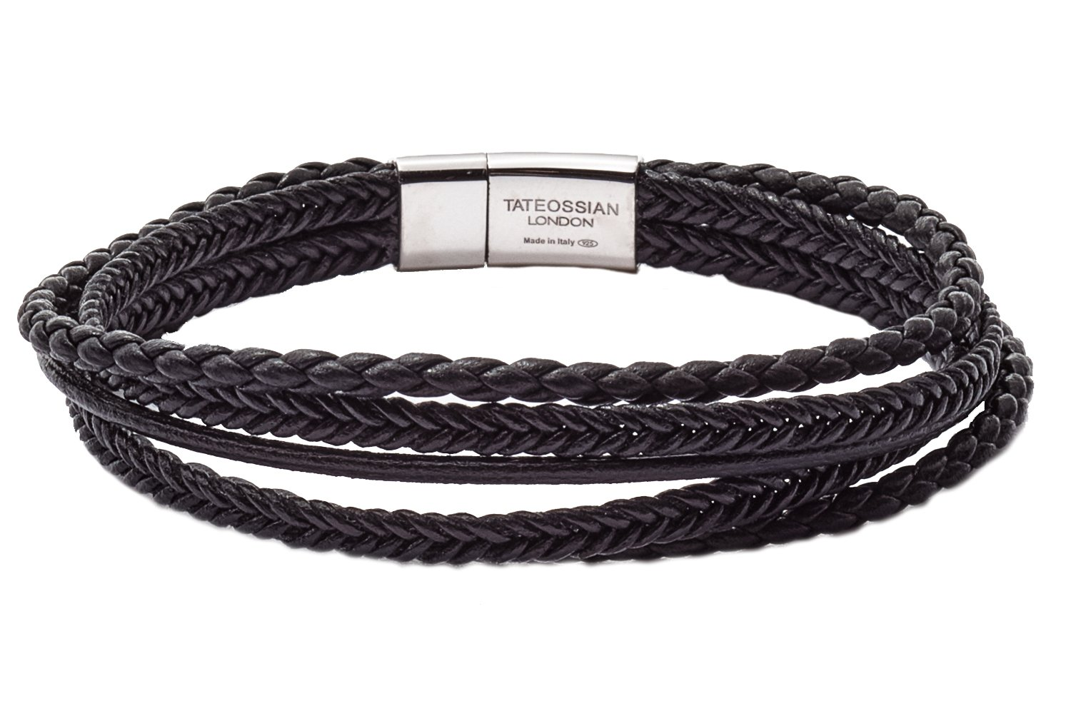 Tateossian Cobra Italian Leather Multi Strand Bracelet - Black, Medium 18cm
