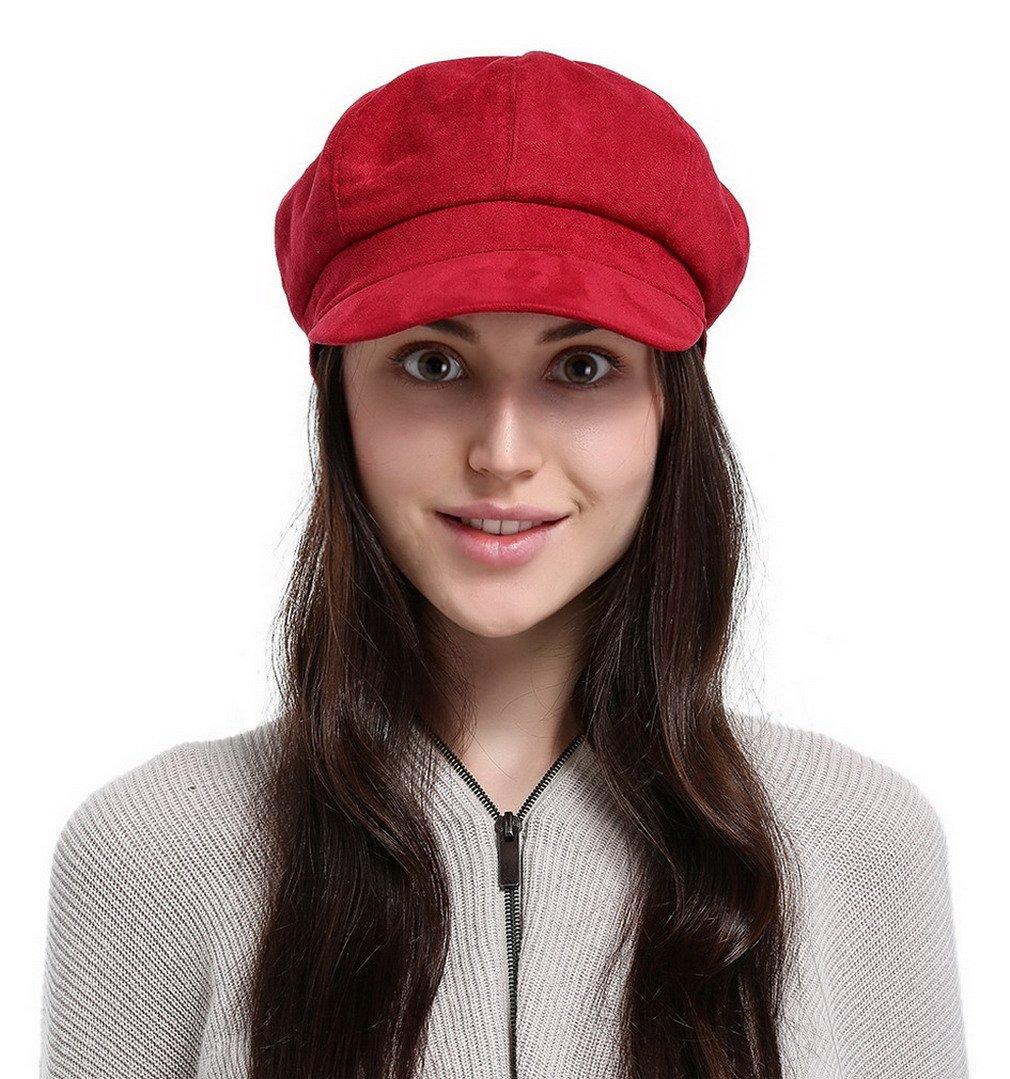 Jimall Ladies Winter Warm Faux Suede 8 Panel Baker Boy Cap Peaked Beret Hat