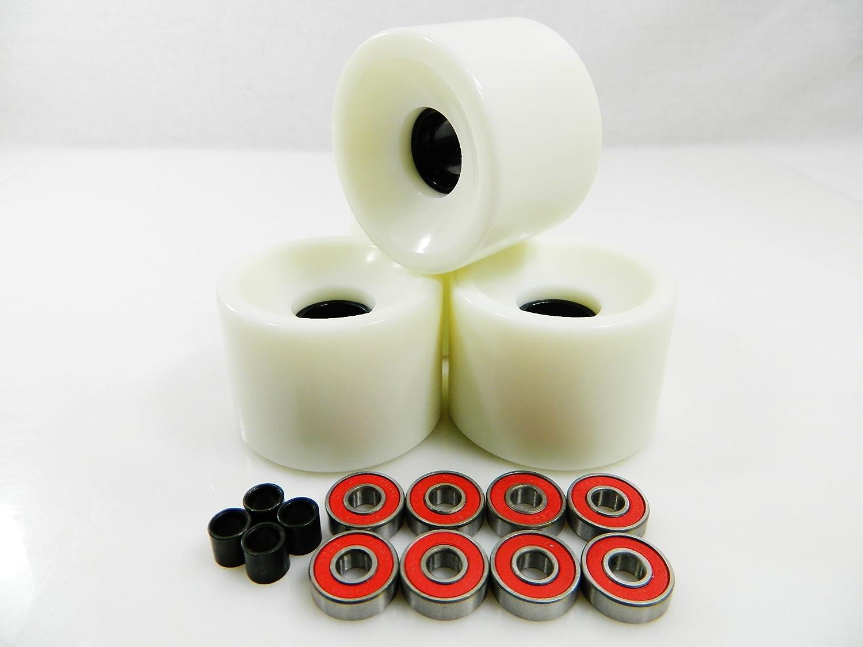 60mm スケートボードホイール + ABEC 7ベアリングスペーサー (ホワイト)   B00IK6K1C8
