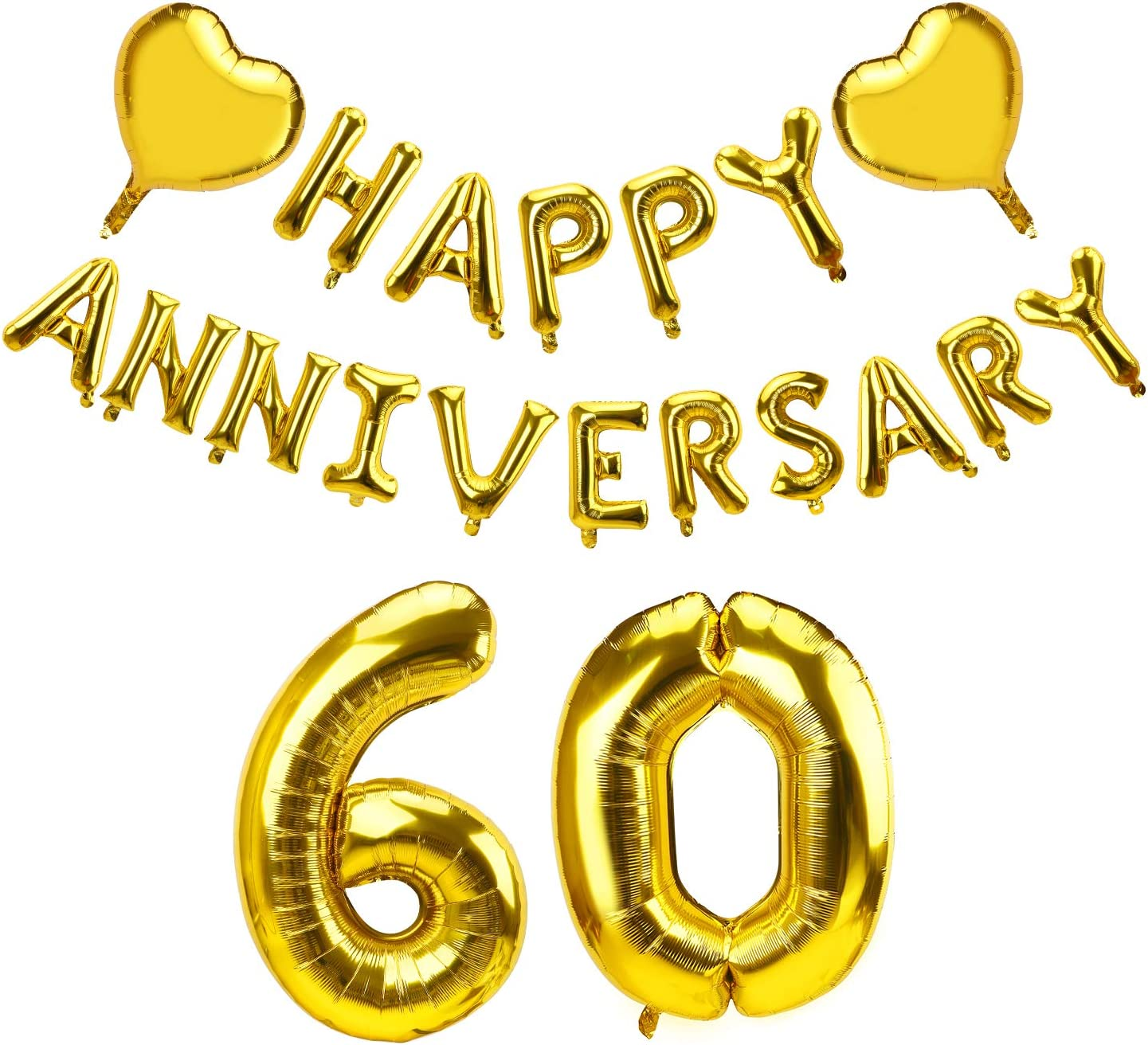 Yoaokiy Gold Happy 60 Anniversary Balloon Banner - 60th Anniversary Party Decorations - Perfect for 60th Wedding Anniversary Party Decorations Supplies