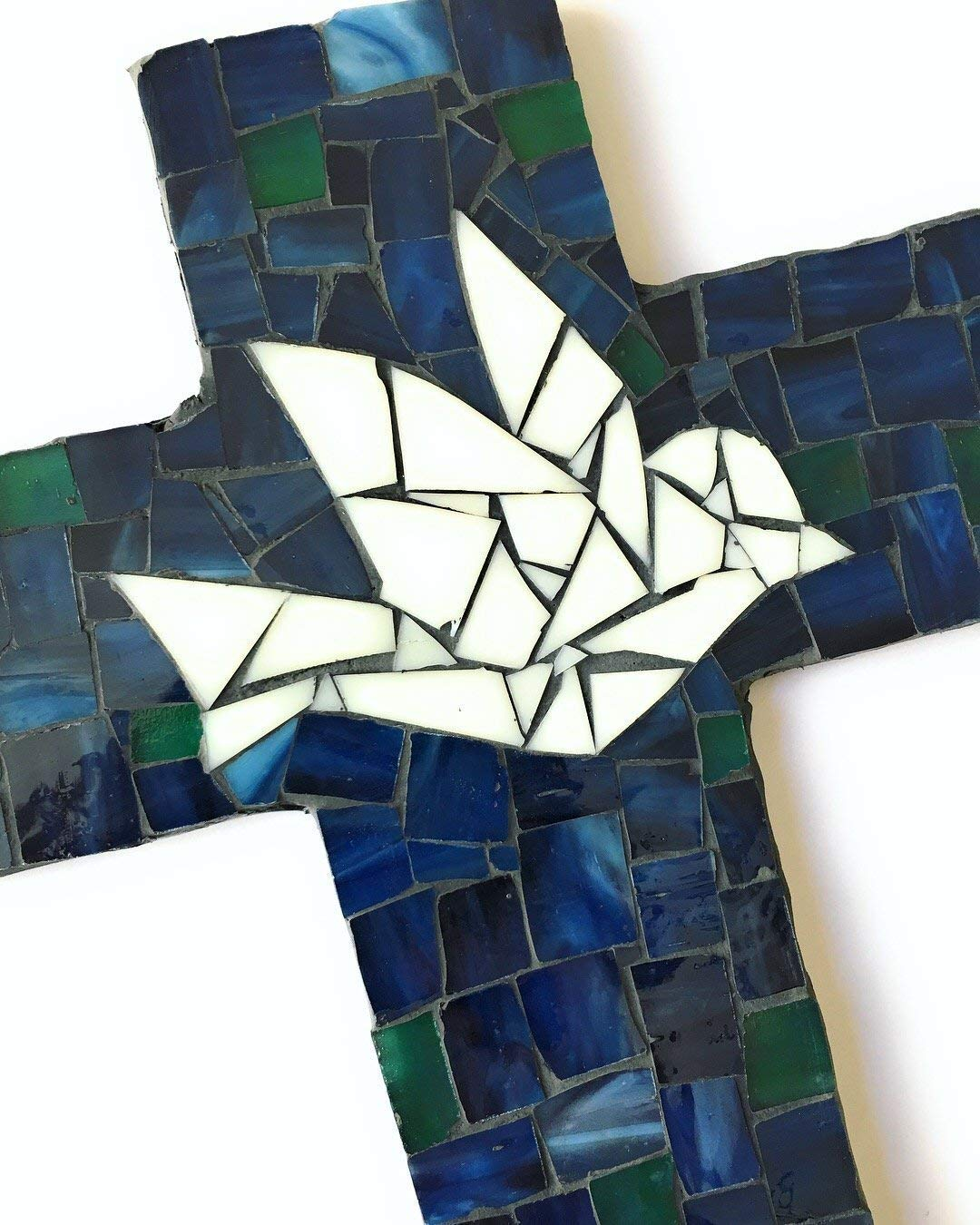 Ivory Green and Blue stained glass with charcoal colored grout Handcrafted Mosaic Dove Wall Cross