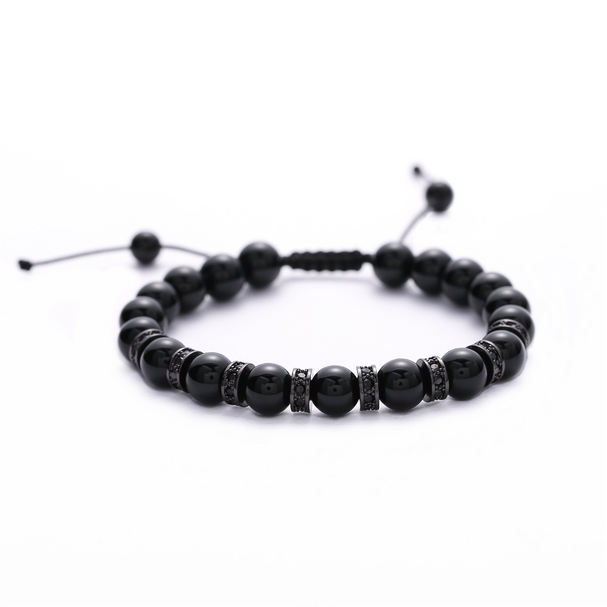 Molinuo Natural Stone Black Agate Bracelet for Men&Women 8mm Beads Braided Bangle Adjustable