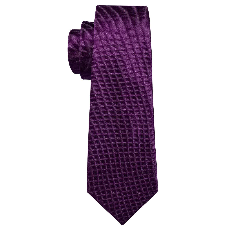 Barry.Wang Men Tie Set Solid Gray Woven Handkerchief Cufflink