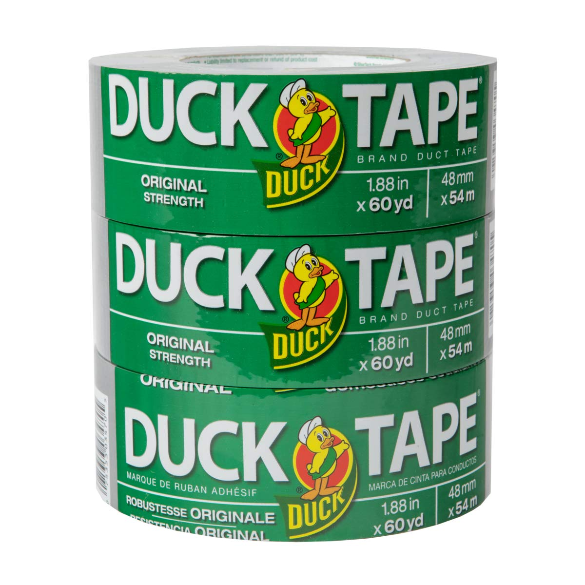 The Original Duck Tape Brand286553 Duct Tape 3-pack 1.88 Inch x 60 Yard, 180 Total Yards Silver