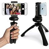 igadgitz Mini Ligera Trípode de Mesa & Mano Estabilizador + Universal Móvil Smartphones Soporte Adaptador de Montura – Negro