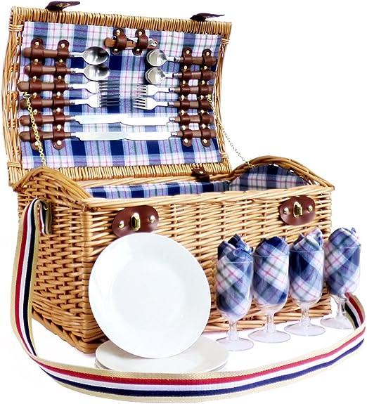 Stretford 4 Picnic Basket Basket Panier Avec Accessoires Idees Cadeaux Pour Anniversaire Mariage Anniversaire Et Entreprise Amazon Fr Jardin
