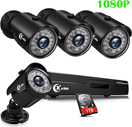 XVIM 8CH 1080P Security Camera System Home Security Outdoor 1TB Hard Drive Pre-Install CCTV Recorder 4pcs HD 1920TVL Upgrade Surveillance Camera